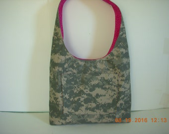 ACU Army Camo and Pink Leopard Hobo Boho Style Purse Bag Tote