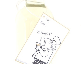 Set of NINE Charming, Illustrated White Wine Gift Tags-