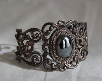 Vintage Signed Danecraft Sterling Silver Filigree & Hematite Stone Cuff Bracelet