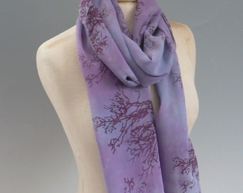 Silk Scarf, Hand Dyed Purple, with Hand Printed Branches for Nature Lovers
