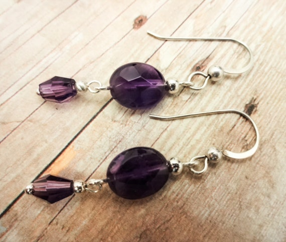 Oval Amethyst Earrings, February Birthstone Earrings,