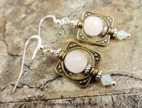 Rose Quartz and Mixed Metal Earrings