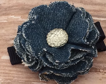 Beautiful Blue Denim Frayed Fabric Flower Rhinestone Hair Clip Clippie Babies, Toddlers, Girls