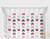MORE COLORS Grace and Cruz Chasing Chevrons Mint, Navy, Pink, Coral, Mustard, Grey, Red Crib +Toddler  Sheet -  Baby Bedding + Nursery Decor