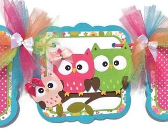 owl baby shower banner, owl family banner, owl banner, owl deocrations, party deocrations, its a girl banner, girl baby shower, girl banner