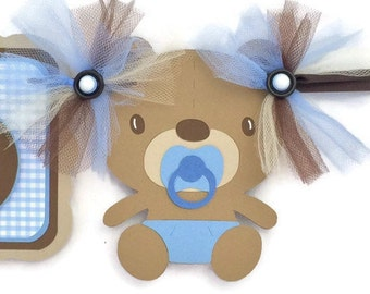 Teddy bear banner, teddy bear baby shower, name banner, boy name banner, birthday banner, blue and brown, photo prop