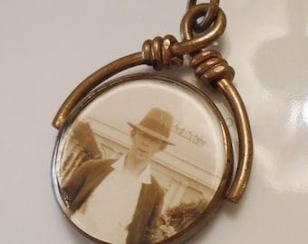 Antique Double Side Swiveling Photo Locket Beveled Glass Brass Scroll 1900