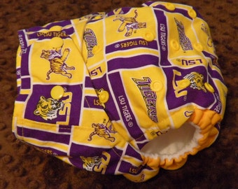 SassyCloth one size pocket diaper with LSU Tigers blocks cotton print. Ready to ship.