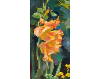 Honey-and-sun gladiolus. Original oil painting. Impressionistic painting. Painted from life.