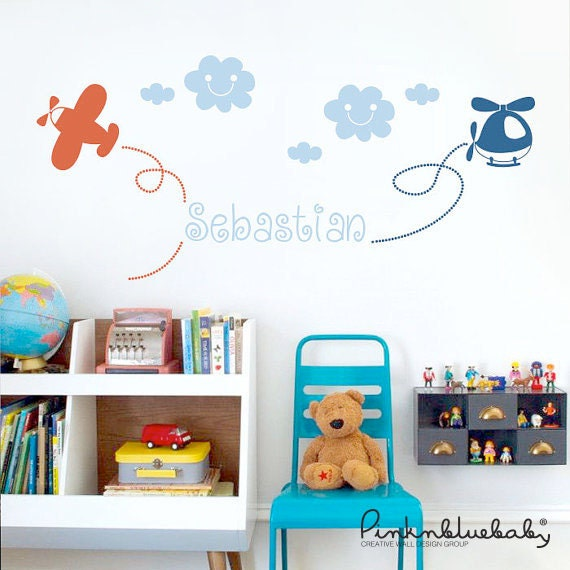 Custom Baby Name Decal, Flying Airplane and Helicopter - Nursery Wall Decal Sticker