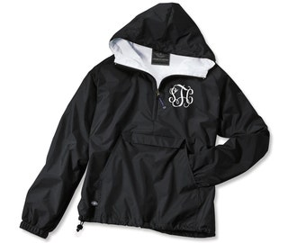 Monogrammed Pullover Rain jacket - BLACK - Ladies Rain jacket Monogram rain jacket