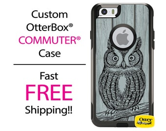 iPhone OtterBox Commuter Case for iPhone 7, 7 Plus, 6/6s, 6 Plus/6s Plus, 5/5s/SE, 5c Galaxy S7 S6 S5 Note 5 Custom Barn Wood Owl Phone Case
