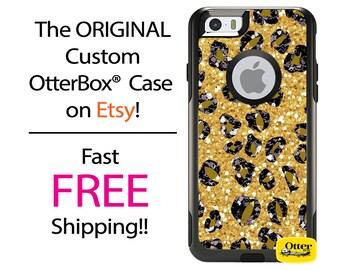 Custom iPhone OtterBox Commuter Case for iPhone 7, 7 Plus, 6/6s, 6 Plus/6s Plus, 5/5s/SE, 5c Galaxy S7 S6 S5 Note 5 Cheetah Bling Glitter