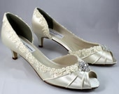 """WIDE Ivory lace heels 1.75""""-Corrisa - Wide shoes available - low heel"""