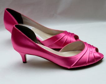 "Pink wedding shoes 1.75""-Wide shoes available - low heel"