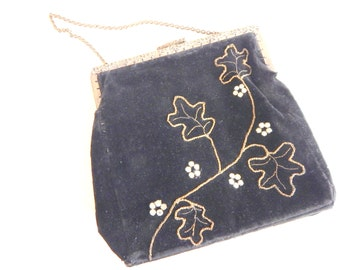 Pretty Vintage 1930s Evening Bag Velvet, Rhinestone, Gold Stitching, Faille lined