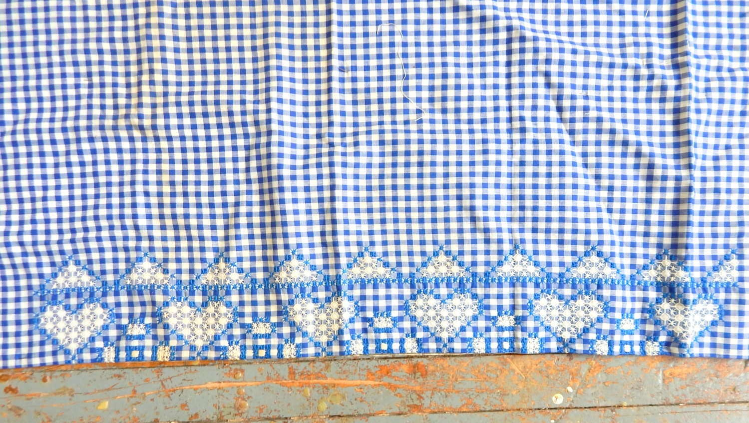 Cotton gingham fabric long embroidered