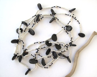 Necklace Beach Stone Jewelry Mediterranean Beach Rock Necklace Pebble River Stone Natural Stone Jewelry Long Necklace Black Silver NINO