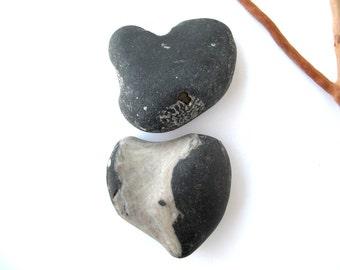 Beach Stone Hearts Heart Shaped Rock Natural Stone Heart Valentine Gift Pocket Charm Zen Stone Heart Shaped Stones YING and YANG