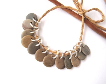 Natural Stone Beads Mediterranean Beach Stone Beads Rock Charms River Stone Beads Pebble Pairs Diy Jewelry Small Pairs TAUPE MIX 11-12 mm