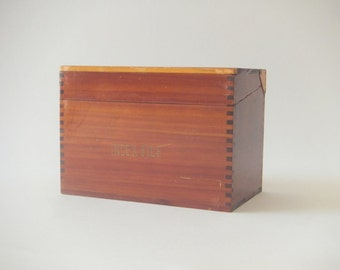 Wood 3 x 5 Card Box, Index File Box, 1930's Organizer and Storage with Dividers