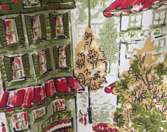"Vintage Cafe Curtains, 1960's, NOS, Red & Green Buildings, Hotel and Cafe, Yellow Trees, Couples Strolling, About 35"" Length"