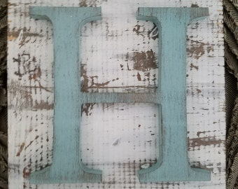 Farmhouse Style Blue H Hanging Wood letter sign- Wall hanging letter READY TO SHIP H