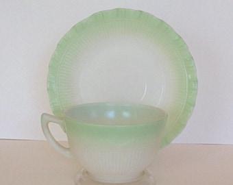 1940s40s Depression MacBeth Evans Pastel Green BORDETTE Cup / Saucer Set / Shabby / Cottage