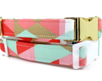 Girl Dog Collar | Pink Mint and Gold Dog Collar | Your choice of metal buckle or plastic buckle | Geometric Dog Collar | Girl Dog Collar