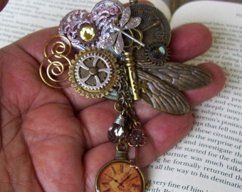 Steampunk Brooch (P521) - Industrial Pin Design - Brass Gears and Clock Face - Dangle Crystal - Wings and Dragon Fly