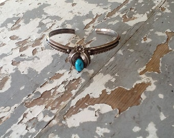 Vintage Signed Navajo Turquoise Sterling Silver Cuff Bracelet Boho Jewelry