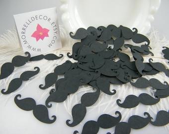 Mustache baby Shower Decoration - 100 Black Mustache Confetti - Photo prop -Confetti - Little man baby Shower - Mustache Party Mr Mustache