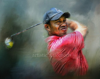 Tiger Woods Golf Art Print Limited Edition with COA
