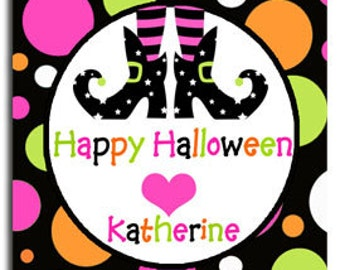 Personalized Halloween Witch Feet Printable with Pink - ANY Wording - Printable or Printed with FREE SHIPPING - Wicked Halloween Collection