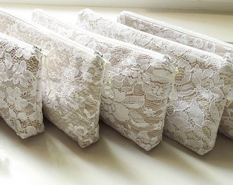 Mismatched Nude Lace Wedding Clutches or Wristlets Set of 6, Bridesmaids Gift Bags, Winter Bachelorette Party Gift Idea, Wedding Accessories