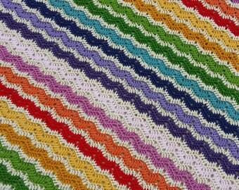 100 % cotton rainbow crochet blanket