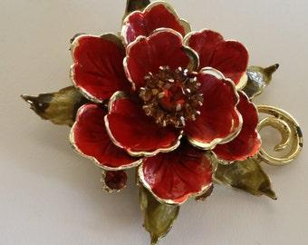 Vintage Coro Flower Brooch FREE USA SHIPPING