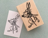 Rabbit With Carrot  Wood Mounted Rubber Stamp 4328