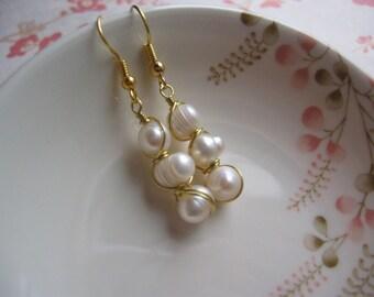 Freshwater Pearls Earrings - Wire Wrapped Pearls Earrings - Gold Plated Earrings