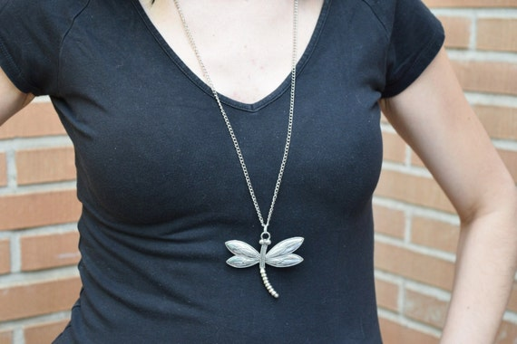 Dragonfly pendant,mosquito necklace,statement necklace,dragonfly choker,large pendant,long necklace,chained pendant,sterling silver