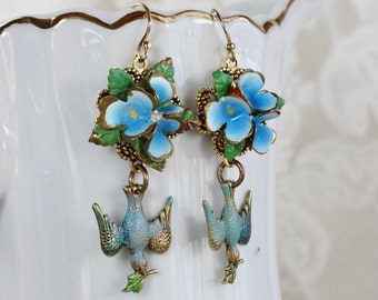 Peace is a Garden- Antique Austrian Enamel Upcycled Earrings- Bluebirds carrying an olive branch- Blue, Gold, Hand painted- One of a Kind