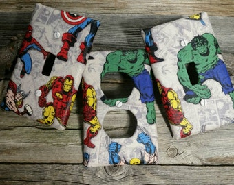 The Avengers Light Switch Plate - Super Hero Room Decor - Switchplate - The Hulk - Ironman - Wolvernine - Captain America