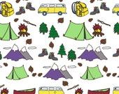Custom Yellow Bus Organic Camping Themed Toddler Blanket - Tents, S'mores, Camper Vans, Canoe, Boots, Backpack Camper Blanket