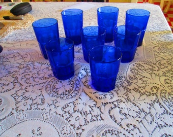 Vintage Crisa Cobalt Drinking Glasses / 4 Large Glasses 4 Smaller Glasses Libby Crisa