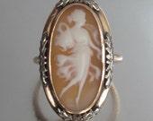 Antique ART DECO Cameo Goddess Ring Floral Flapper Frame 14k