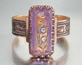 Antique Victorian (1881) Amethyst Rose of Sharon Engagement Ring 14K