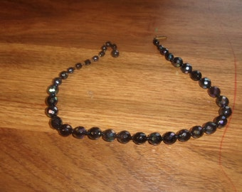 vintage necklace choker irridescent glass beads