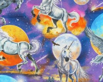 Unicorns Fabric, Planets Fabric, Unicorns and Planets, Fantasy Fabric,  By the Yard