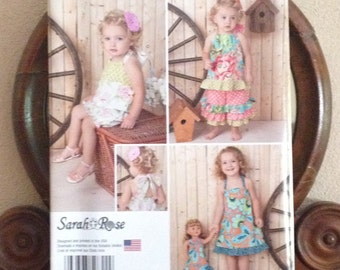 Simplicity Girls Pattern SO822 /  Dress, Romper, Top and Pants,  Sizes 1/2 to 4T, Child and Doll Dress, Ruffles, Sarah Rose