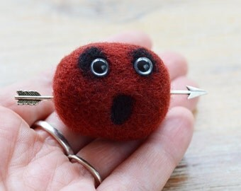 Valentine Monster Felt Brooch - Arrow Through the Head Pheeple Badge in Needle Felted Maroon Merino Wool